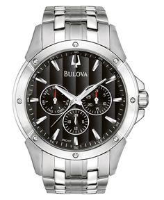 Bulova Men's Stainless Steel Bracelet Watch 43mm 96C107 - Bulova - Jewelry & Watches - Macy's