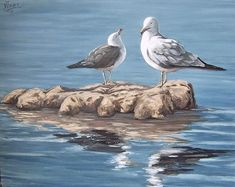 Seagulls In The Sea Painting by Natalia Tejera