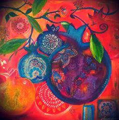 Pommegranates by Tuuli Levit, 2013, mixed media