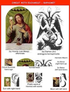 Baphomet with the Eucharist - Is This Your Lord? Baphomet, Feathered Serpent, Satanic Art, Alchemy Symbols, Esoteric Art, Occult Art, Black History Facts, Bible Knowledge, World Religions