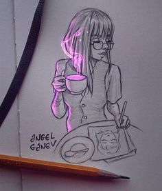Belos desenhos no estilo anime Ilustrações singelas - Arte no Papel Online Girl Drawing Sketches, Pencil Art Drawings, Cool Art Drawings, Realistic Drawings, Sketch Art, Cartoon Drawings, Drawing Ideas, Art And Illustration, Kreative Portraits