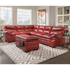 Simmons Upholstery Soho Cardinal Leather Sectional and Storage Ottoman (Cardinal Sectional), Red (Bonded Leather) Sectional Sofa Sale, Sofa Couch, Leather Sectional, Sofa Set, Couches, Reclining Sectional, Sofa Furniture, Dining Room Furniture, Living Room Sofa
