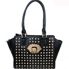 cf1e5231e713 Betty Boop® Rhinestone  amp  Stud Croco Tote Handbag – Handbag Addict.com  Betty