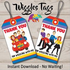 The Wiggles Favor Tags, Wiggles Thank You Tags, Wiggles Birthday Party, Wiggles Party Decoration, Wi