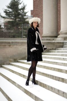 Some outfits, like this one worn by Mather House Super Senior & Applied Mathematics concentrator Anna Roth, look fantastic in snow. The blac...