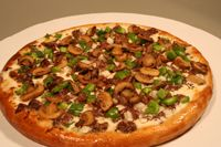 The Philly Cheesesteak Pizza by Jason Samosky  in Valley City, Ohio  Samosky Pizza on Rt. 303