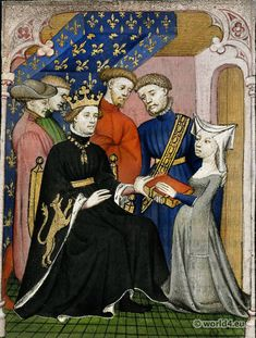 Christine de Pizan presenting her book to Charles VI the Beloved (1380–1422)