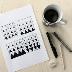 Coffee and the daily drawing. Coffee moment. Styling. Sketchbook. Pattern. Patchwork. By Johanna Sandberg.