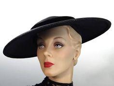 bc84a8f2c81 Black Straw Cartwheel Hat Wide Brim and Low Crown Vintage 1950 s with  Velvet Trim