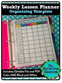 Clutter-Free Classroom: Weekly Lesson Planner {Teacher Organization Tool, Lesson Planning, Back to School Binder Ideas} Back to School tips