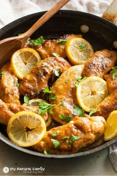 One Pan Paleo Lemon Chicken I love how you bread the chicken right in the pan. I love to make this Clean Eating lemon chicken for a quick weeknight dinner and my whole family loves it. Easy Lemon Chicken Recipe, Eating Lemons, Cooking Recipes, Healthy Recipes, Skillet Recipes, Veggie Recipes, Casserole Recipes, Drink Recipes, Free Recipes