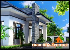 mau thiet ke biet thu san vuon 1 tang dep mai thai Civil Construction, Kerala, My Dream, Sweet Home, Villa, Exterior, House Design, Mansions, House Styles