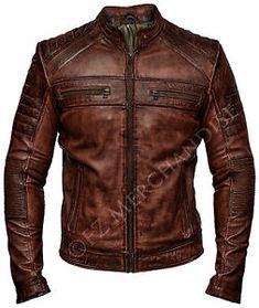 Mens-Biker-Vintage-Antique-Brown-Cafe-Racer-Real-Leather-Jacket