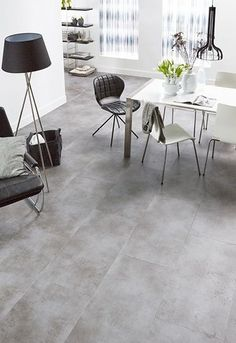 Alles wat je wilt weten over PVC - Caspar Dekkers Interieurs Grey Floor Tiles, Grey Flooring, Gray Aesthetic, Room Inspiration, Color Combinations, Modern Design, Dining Table, House Design, Living Room