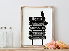 Harry Potter Harry Potter Poster Street Sign Places by PrintyMuch Harry Potter Disney, Harry Potter Poster, Harry Potter Places, Harry Potter Painting, Harry Potter Decor, Harry Potter Birthday, Harry Potter Bathroom, Harry Potter Nursery, Harry Potter Presents