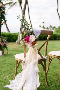 Rustic Chair with Floral & Lace Aisle Marker | Photo: Mike Adrian Photography.