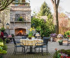 outdoor fireplace ideas with brick