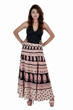 Women Rajasthani Print Wrape Around with Skirt Matching Tank Beachwear Top IWUS Indian Skirt, Wrap Around Skirt, Print Wrap, Cotton Skirt, Printed Skirts, Printed Cotton, Beachwear, Midi Skirt, Tank Tops