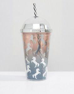 New Look | New Look Ombre Unicorn Glitter Shake It Cup