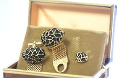 Vintage Cufflinks Tie Tack Set Black and Gold Cufflinks