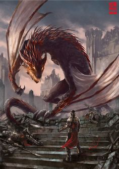 Mesoth- by XRobinGoodFellowX draogon wyvern knight staircase city fortress castle monster beast creature animal Dragon Medieval, Medieval Fantasy, Dark Fantasy, Mythological Creatures, Fantasy Creatures, Mythical Creatures, Dragon Rey, Dragon Knight, Skyrim Dragon
