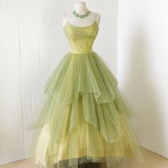 vintage 1950's dress ...rare CEIL CHAPMAN golden lime tulle layers full skirt boned bodice cocktail party prom dress
