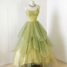 vintage 1950's dress ...rare CEIL CHAPMAN golden lime by traven7, $560.00