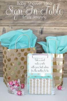 Baby Shower Idea:  Sign in Table!  This is so simple to put together but a really creative way to have guests sign in at a baby shower!  You need to click through to check this idea out!  And then pin for later.  #spon