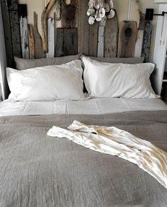 grey bedspread and headboard LOVE!