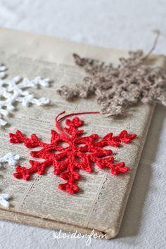 Glace au crochet - New Ideas Crochet Leaves, Crochet Stars, Crochet Snowflakes, Crochet Motif, Crochet Top, Mug Rug Patterns, Knitting Patterns, Crochet Patterns, Crochet Gratis