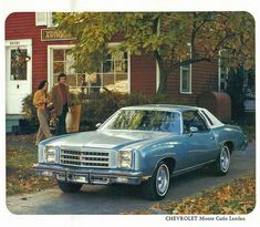 My grandma had just like this one but a little darker blue. Chevrolet Monte Carlo, Chevrolet Corvette, General Motors, Old American Cars, Car Advertising, Old Ads, Motor Car, Motor Sport, Luxury Cars