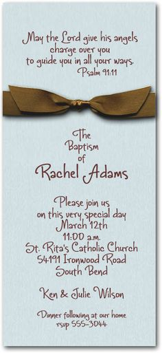 Aqua & Brown Ribbon BaptismInvitations, Baby Christening Invitations I know the couple is going for a blue and brown theme, but a white ribbon would be so much more appropriate. White garment, white ribbon, white bonnet, wash away original sin. Happy Baptism.