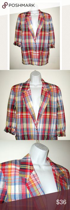 """VTG 80s Lord & Taylor Preppy Plaid Fall Blazer M Vintage 1980s 100% cotton unlined summer blazer in an amazing preppy plaid. Two button styling with two pockets. Appears unworn. No flaws.   Size S  Bust: 19"""" (flat)  Excellent condition. Vintage Jackets & Coats Blazers"""