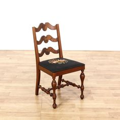 Antique Mahogany Floral Needlepoint Accent Chair Design
