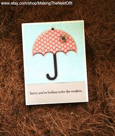 Get Well Card - Handmade Greeting with Pink Umbrella