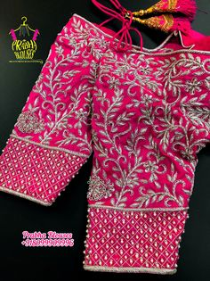 Blouse Designs Wedding, Best Blouse Designs, Blouse Neck Designs, Blouse Styles, Magam Work Blouses, Latest Maggam Work Blouses, Magam Work Designs, Mirror Work Blouse Design, Pattu Saree Blouse Designs