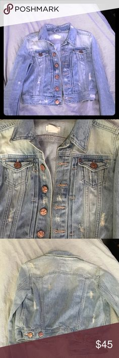 Cropped distressed jean jacket Light was with rose gold hardware H&M Jackets & Coats Jean Jackets