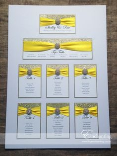 Yellow Wedding Stationery - Mounted Table Plan