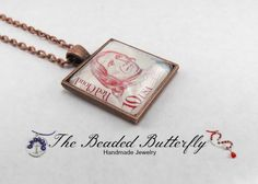 Red Cloud Postage Stamp Necklace Native by TheBeadedButterfly, $15.00