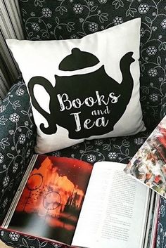 Not a coffee fan? Not to fear, books and tea are perfect companions. Just pair them with this throw pillow and you've got the set up for a wonderfully cozy evening in. Find this adorable pillow on Redbubble.