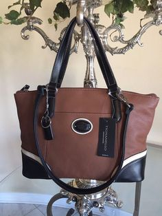 Tignanello Handbag Convertible Satchel Purse Leather Brown White Black NWT   149 959a4b1af64e3