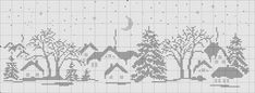 Free winter scene cross stitch pattern 1 of 3 Cross Stitch House, Cross Stitch Charts, Cross Stitch Patterns, Cross Stitching, Cross Stitch Embroidery, Embroidery Patterns, Crochet Cross, Filet Crochet, Cross Stitch Landscape