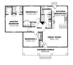 Cottage Style House Plan - 3 Beds 2 Baths 1260 Sq/Ft Plan #44-175 Floor Plan - Main Floor Plan - Houseplans.com