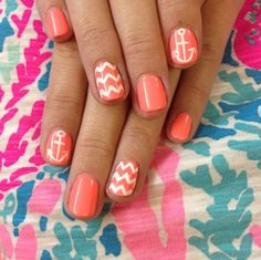 coral and white anchors and chevron nails manicure. only gray or light beige. I would never wear coral. Get Nails, Fancy Nails, Love Nails, How To Do Nails, Pretty Nails, Hair And Nails, Chevron Nails, Zig Zag Nails, Nautical Nails