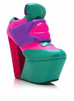 You and every awesome person from the 80s and 90s will be best friends when you rock these colorblock cut-out wedges.