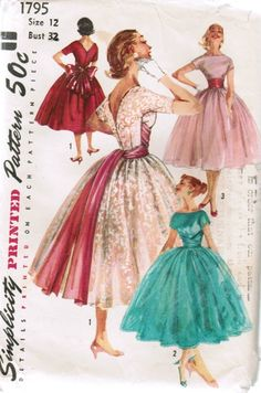 Very similar to my 1958 Party Dress Pattern. Would be fun to add the wrap sash! http://sensibility.com/blog/blog/ladies-1958-party-dress-pattern/ Simplicity Sewing Patterns, Dress Sewing Patterns, Wedding Dress Patterns, Vintage Sewing Patterns, Pattern Dress, One Piece Full, Short Kimono, Fitted Bodice, Full Skirts