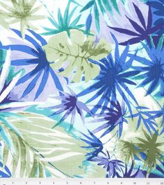 Fabric - Tropical Punch- Cool Tones Tropical Cotton Spandex Slub