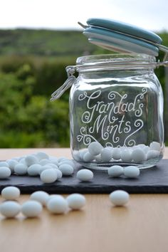 Personalised glass jar with airtight seal hand engraved with your message by CoveCalligraphy, £17.25