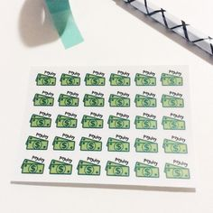 Mini Payday stickers, Pay Day Stickers, Money Stickers, Green money stickers, Pay Day tracker, sticker sheet, planner stickers, money planner  1