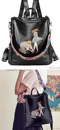 221ebc109d Romantic Embroidered Lover PU Multi-function College Shoulder Bag Backpack  for big sale!